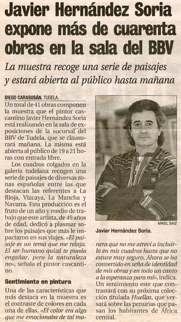 1997.12.17.dn. javier hernandez soria expone mas de 40 obras en la sala del bbv.