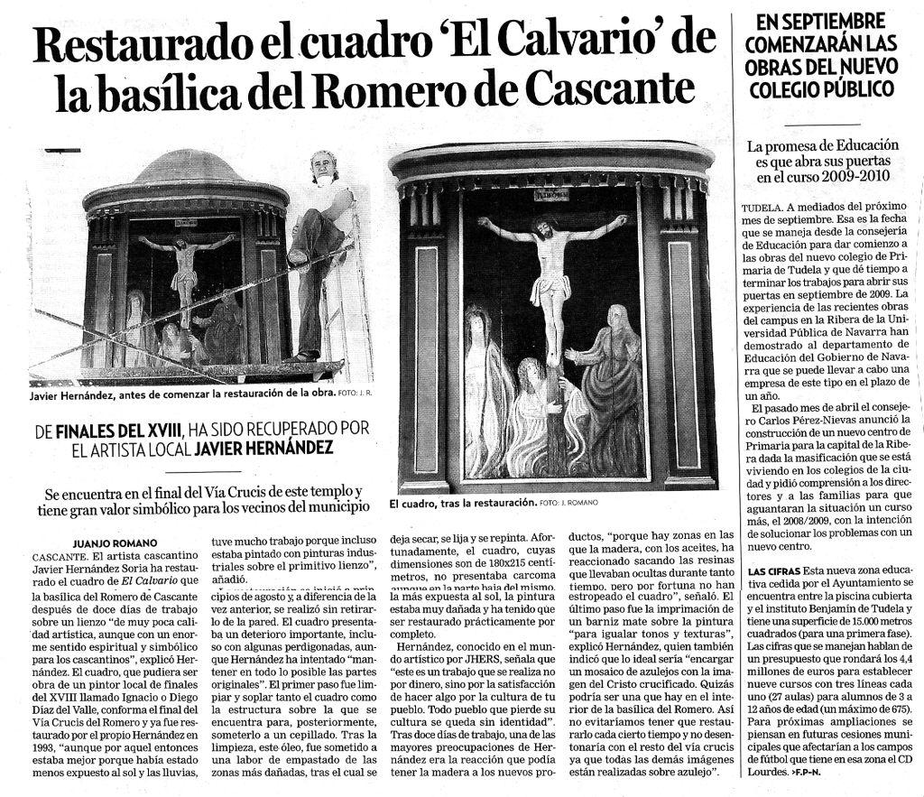 2008.08.25.dn. restaurado el cuadro el calvario de la basilica del romero de cas