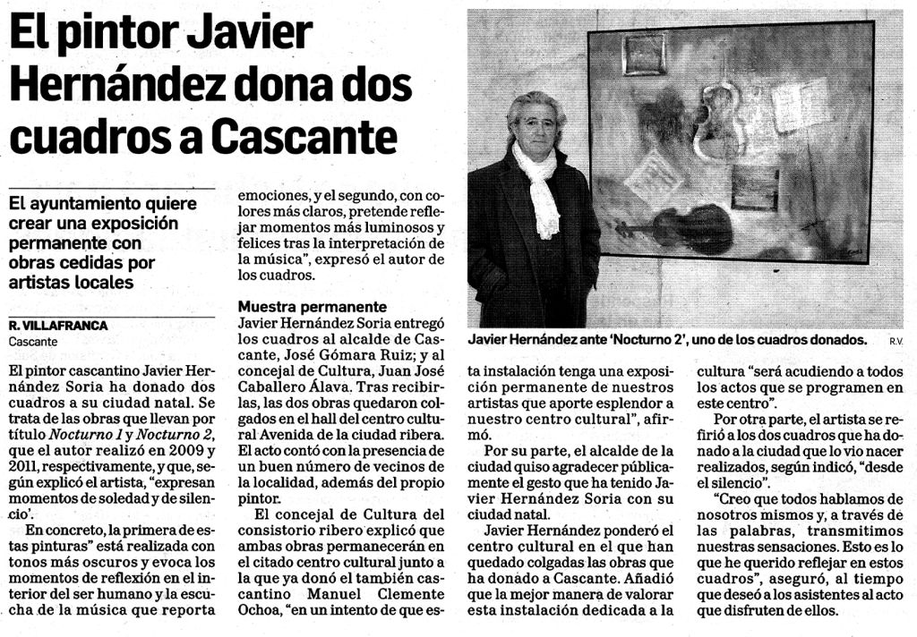 2013.04.10.DN. El pintor Javier Hernandez dona dos cuadros a cascante.jpg