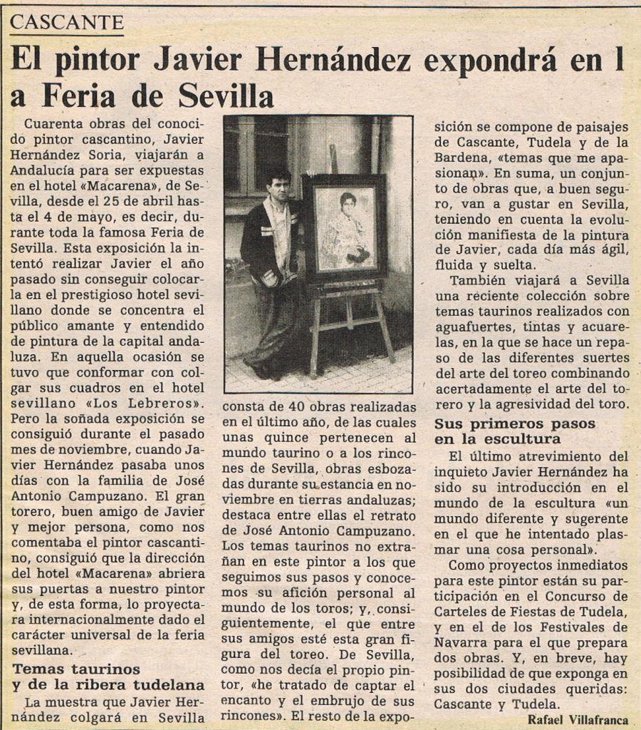 1987.04.17. La ribera tudelana. el pintor javier hernandez expondra en la feria