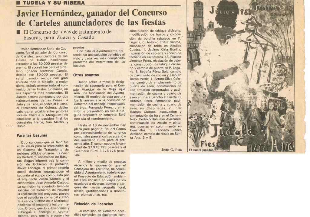 1985.06.01.dn. javier hernandez ganador del concurso de carteles anunciadores de