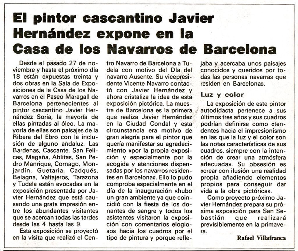 1993.12.15. la ribera tudelana. el pintor cascantno javier hernandez expone en l