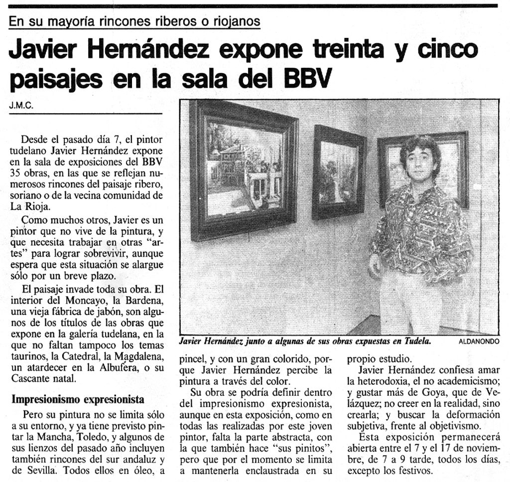 1990.11.09.navarra hoy. javier hernandez expone 35 paisajes en la sala del bbv.j
