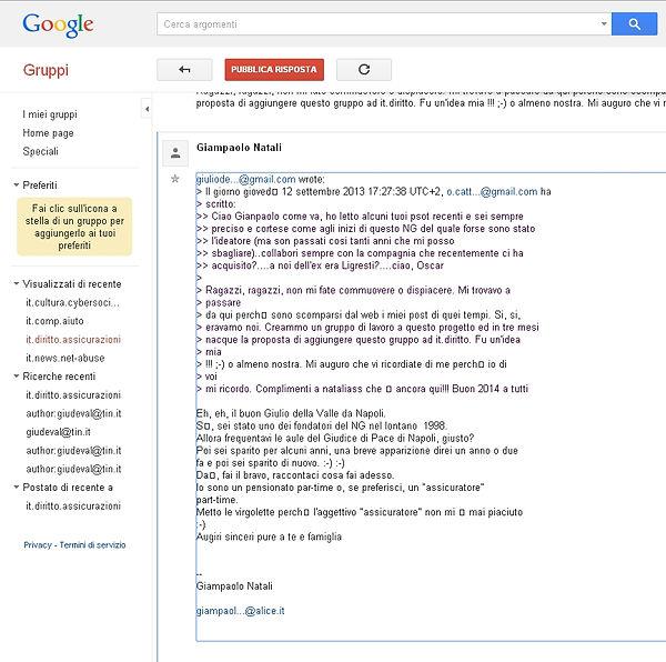 Schermata Google Groups