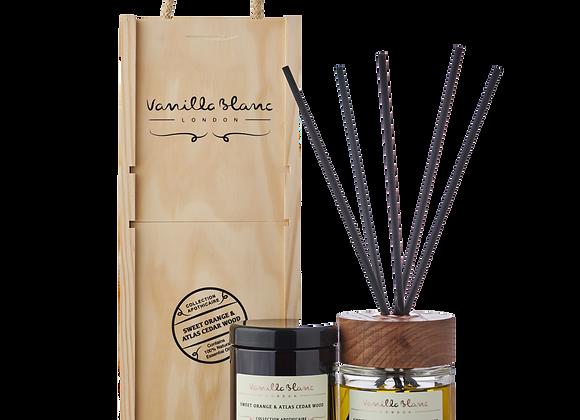 Vanilla Blanc Diffuser & Candle Gift Set - Sweet Orange & Atlas Cedar Wood