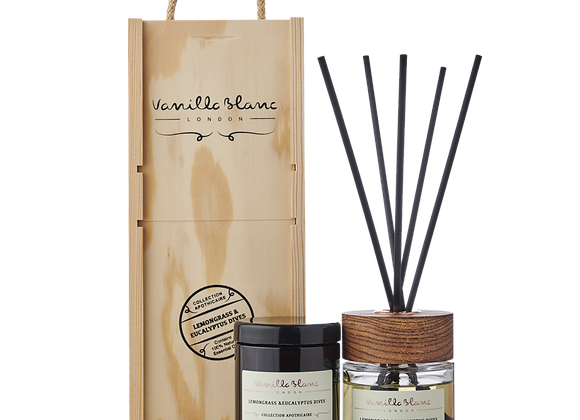 Vanilla Blanc Diffuser & Candle Gift Set - Lemongrass & Eucalyptus Dives