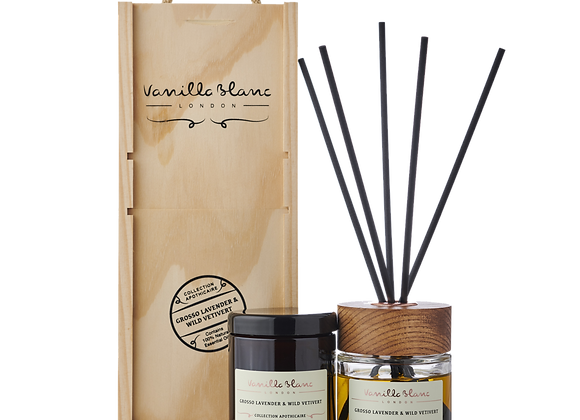 Vanilla Blanc Diffuser & Candle Gift Set - Grosso Lavender & Wild Vetivert