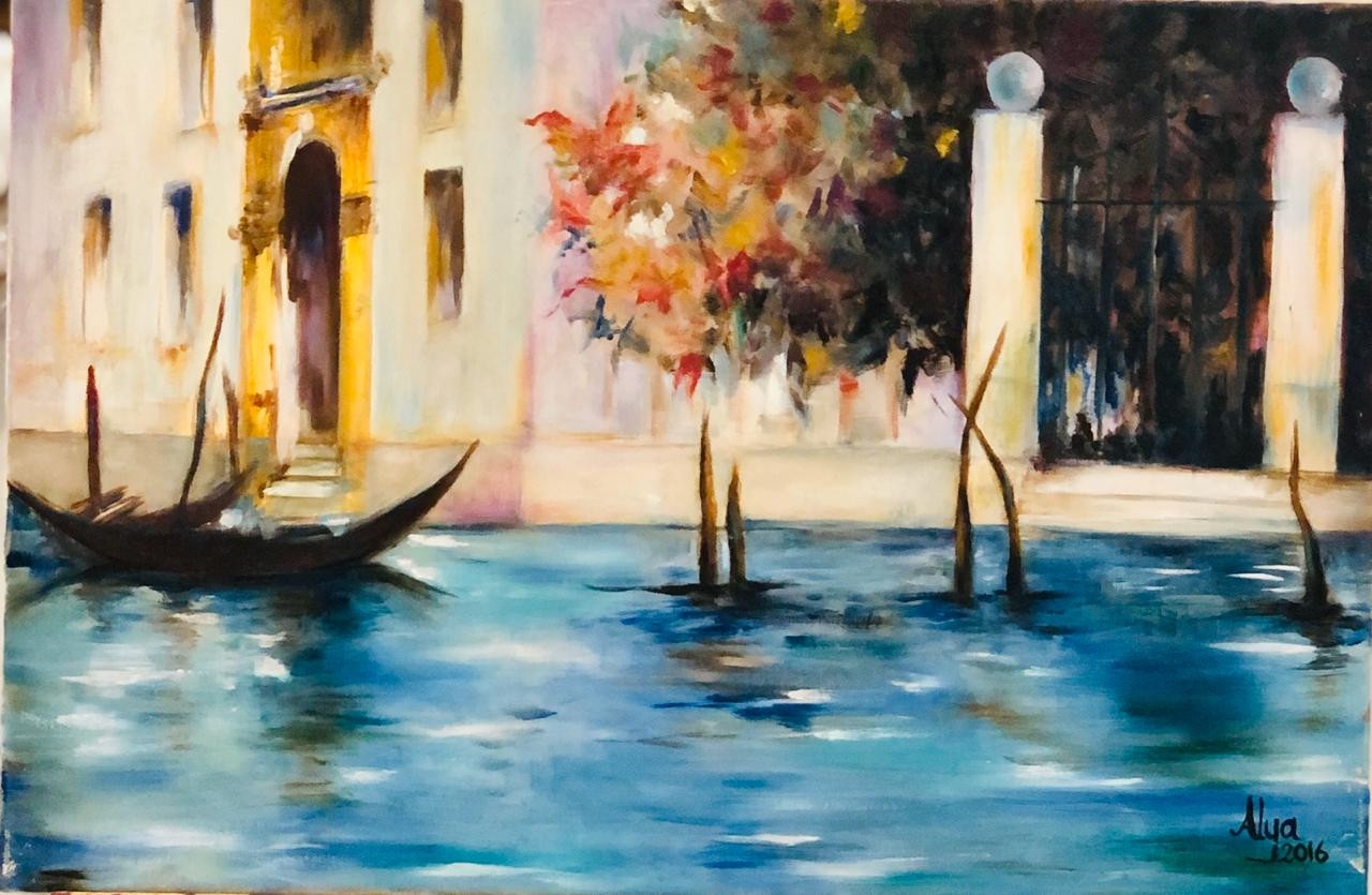 Boat, Oil on canvas, 60x40cm, Alia Saeed