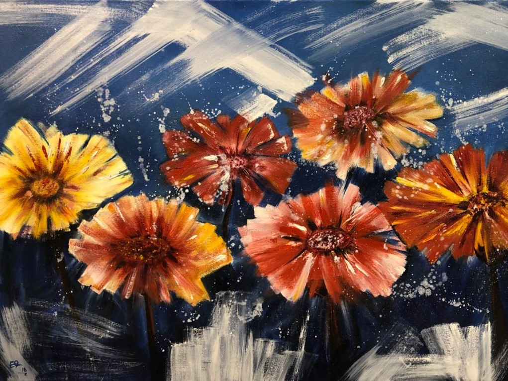 Flowers, Oil on canvas, 100x70cm, Eiman