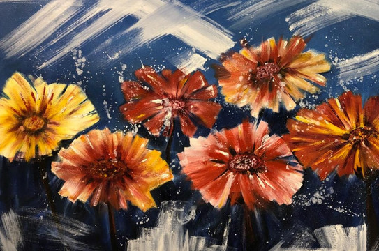 Flowers, Oil on canvas, 100x70cm, Eiman