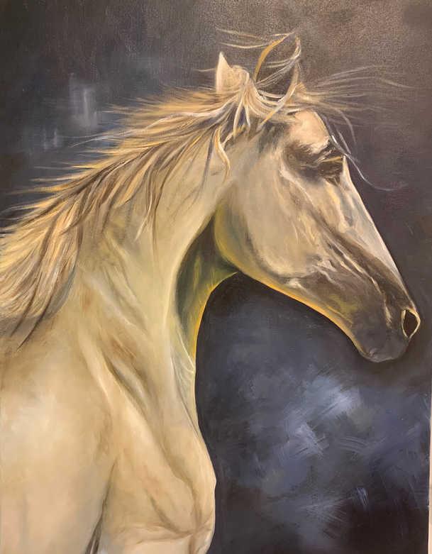 Horse, Oil on canvas, 90x60cm, Safaa Al Dhanhani, 2017