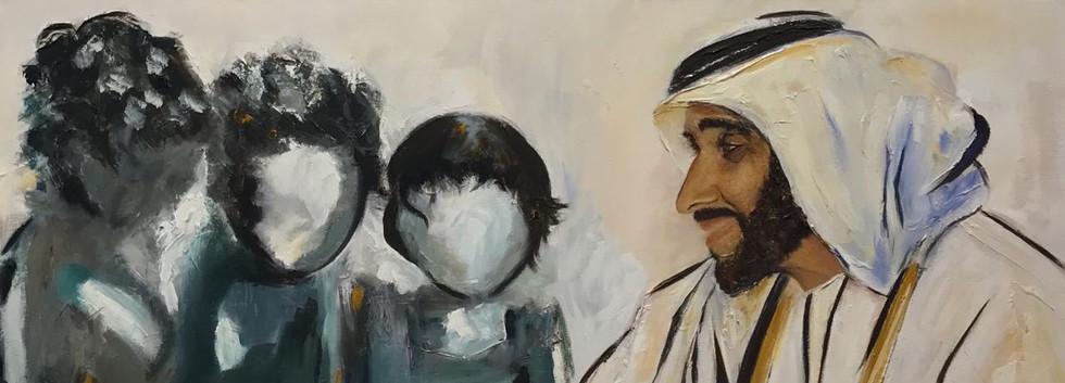 HH Sheikh Zayed Al Nahyan, Mixed media o