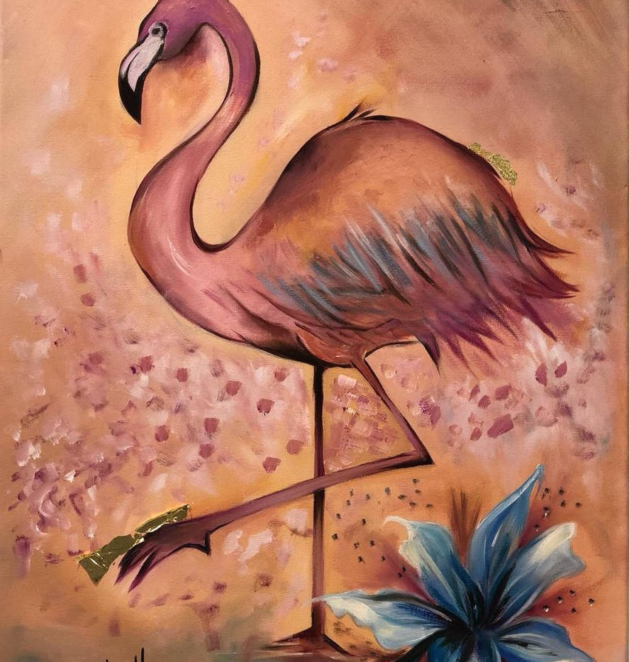 Flamingo, Oil on canvas, 70x50cm, Alyazi
