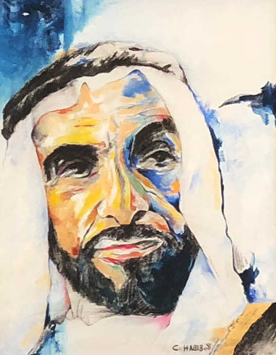 HH Sheikh Zayed Al Nahyan, Oil on canvas, 60x45cm, Claude Habib, 2008