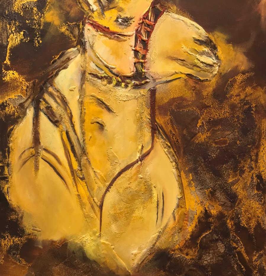 Camel, Mixed media on canvas, 70x50cm, Alyazi Al Hameli, 2019