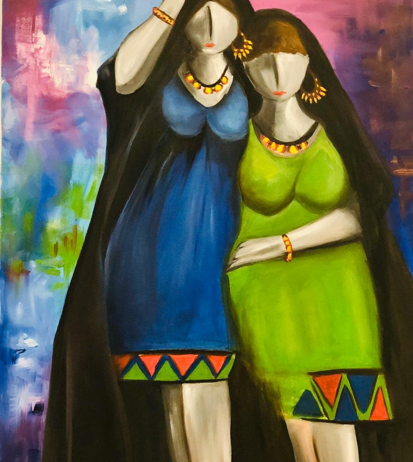 Sisters, Oil on canvas, 90x60 cm, Abeer