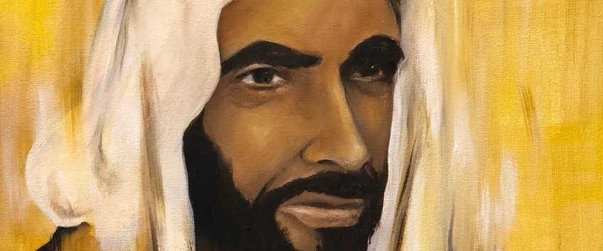 HH Sheikh Zayed Al Nahyan, Oil on canvas, 50x40cm, Safaa Al Dhanhani, 2018