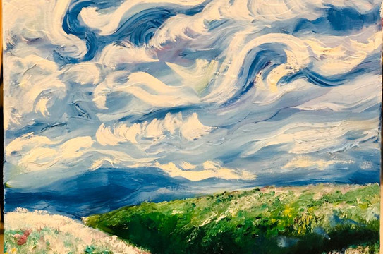 A sunny day in the Prairie, Oil on canva