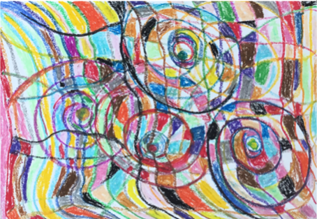 SPIRALS OF JOY Oil Pastel 37x30 cm
