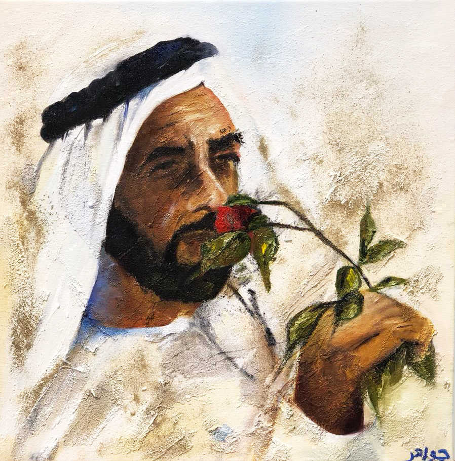 HH Sheikh Zayed Al Nahyan, Mixed media on canvas, 40x40cm, Jawaher Al Menhali, 2018