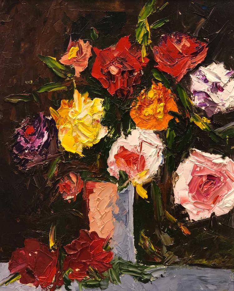 Still Life, Palette Knife oil on canvas,40x30cm, Eiman Al Qubati, 2017