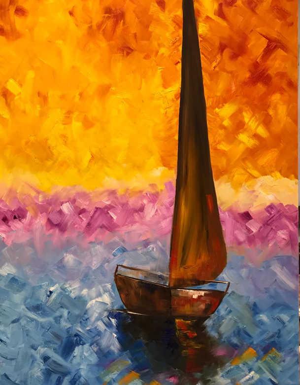 Boat, Oil on canvas, 90x60cm, Abeer Al Rasbi, 2019