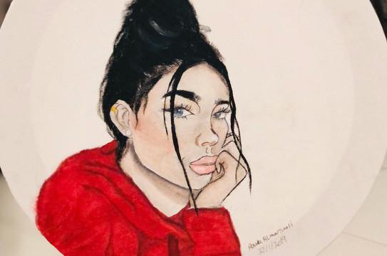 Portrait, Acrylic on canvas, 30x30 round