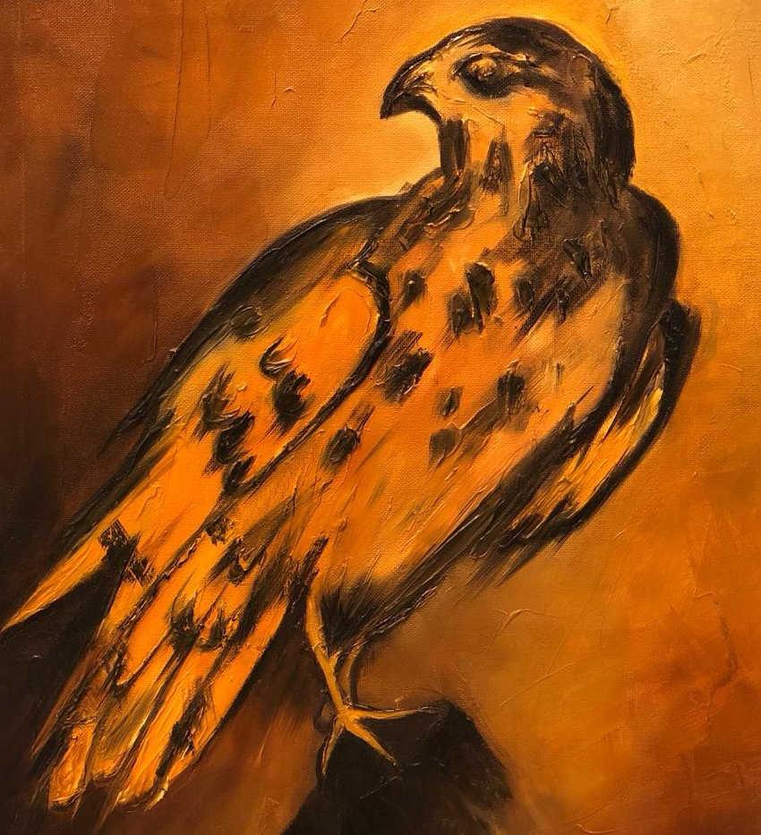 Falcon, Mixed media on canvas, 50x40cm, Eiman Al Qubati, 2018