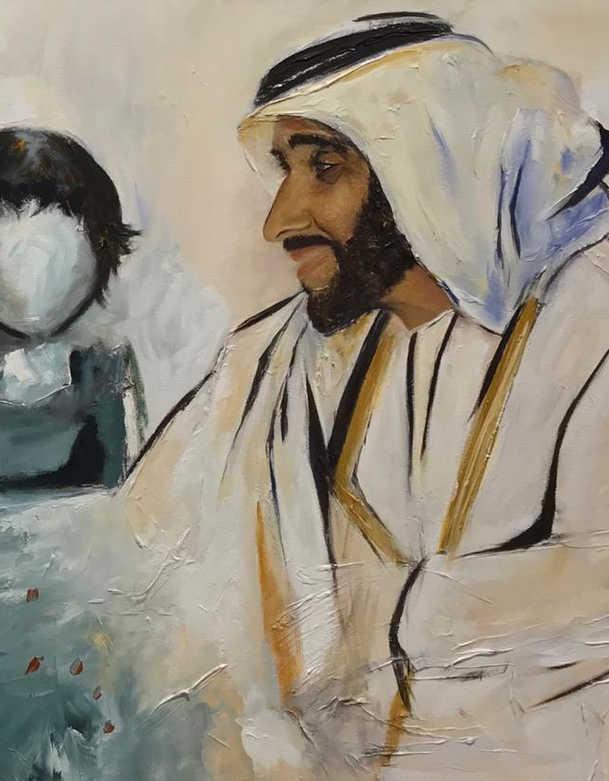 HH Sheikh Zayed Al Nahyan, Mixed media on canvas, 90x60cm, Israa Al Shamsi, 2018