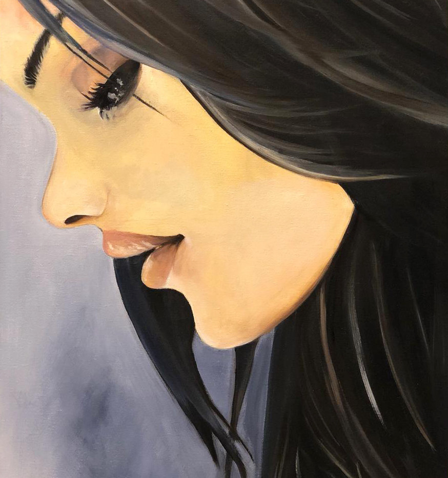 Girl, Oil on canvas, 70x50cm, Eiman Al Q