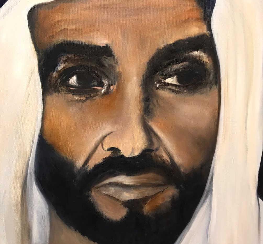 HH Sheikh Zayed Al Nahyan, Oil on canvas, 50x40cm, Alyazi Al Hameli, 2019