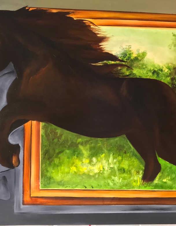 Horse, Oil on canvas, 100x70cm, Eiman Al Qubati, 2019