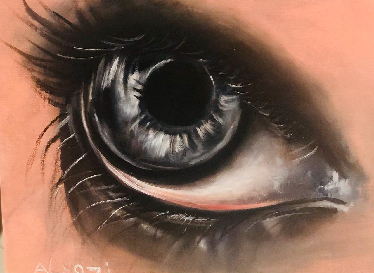 Eyes, Oil on canvas, 35x30cm, Alyazi Al