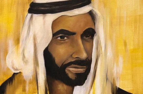 HH Sheikh Zayed Al Nahyan, Oil on canvas