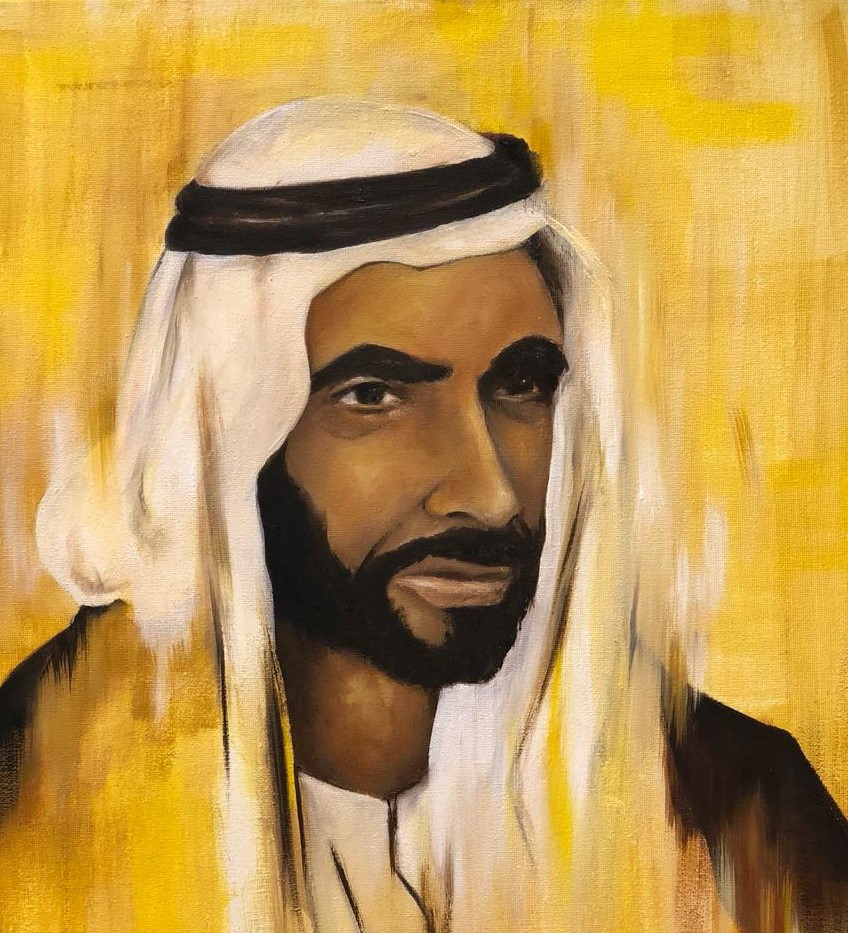 HH Sheikh Zayed Al Nahyan, Oil on canvas