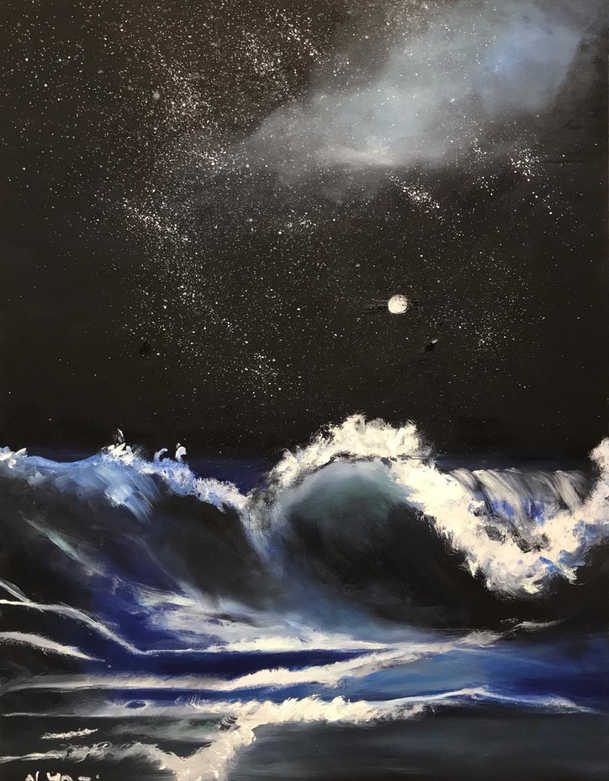 Seascape, Oil on canvas, 70x50cm, Alyazi Al Hameli, 2019