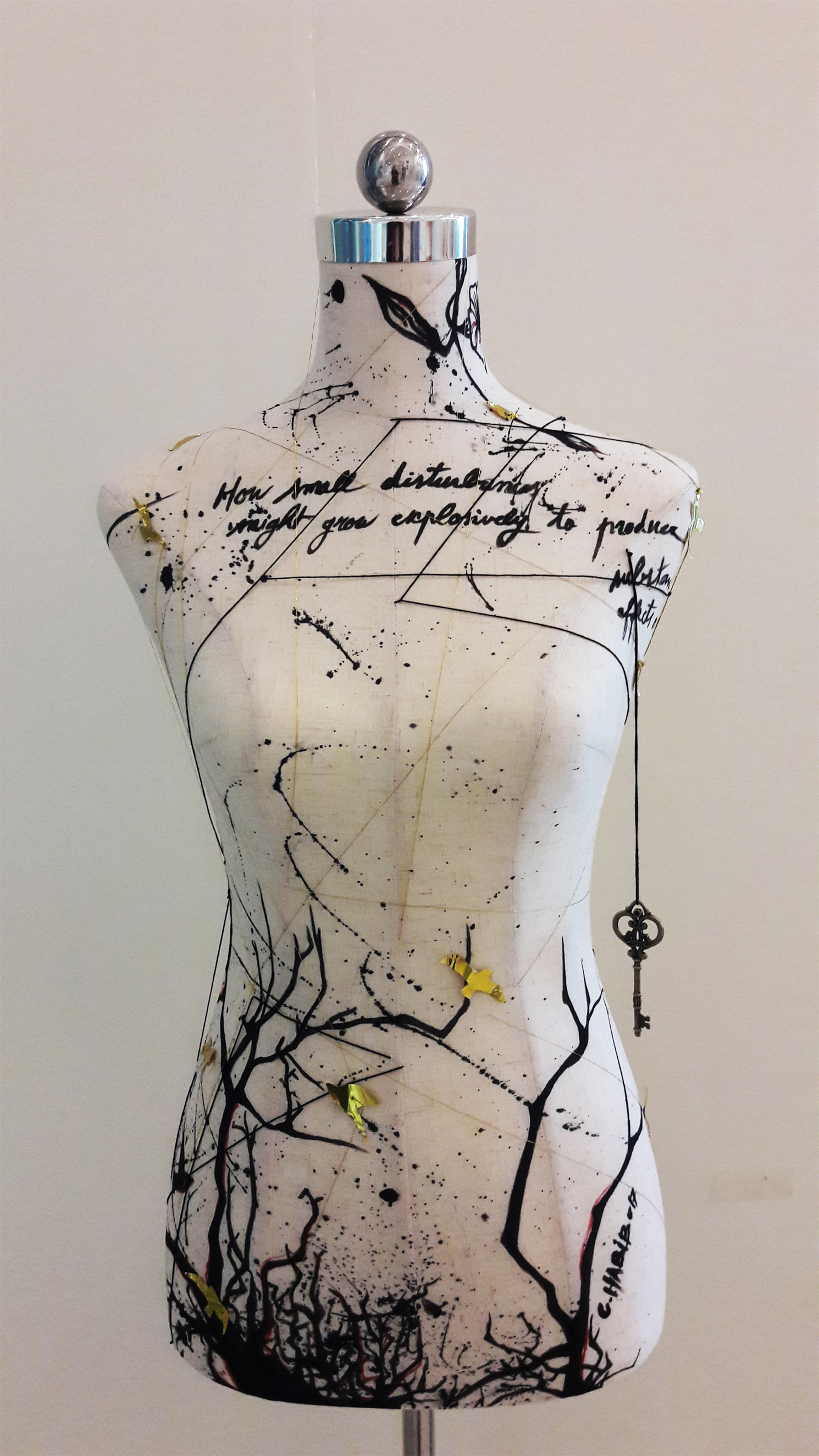 DISTURBANCE. Mixed media on mannequin. 162x37 cm, 2017