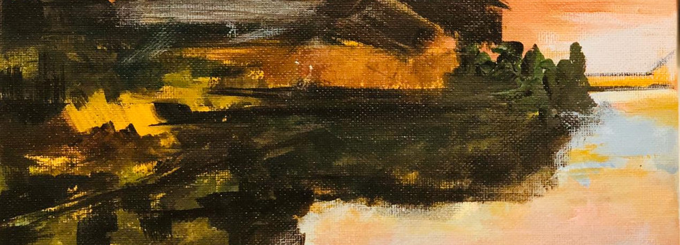 Landscape, Oil on canvas, 25x25cm, Amna