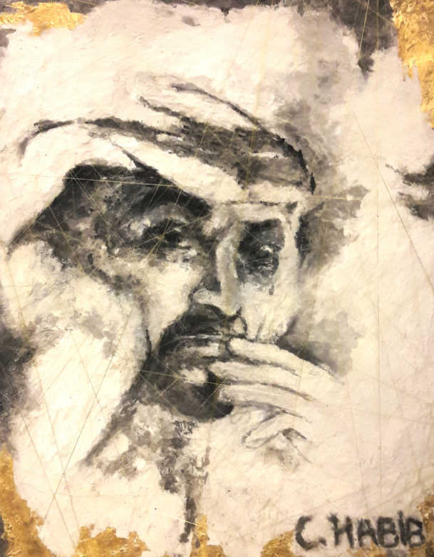 HH Sheikh Mohammed Bin Zayed, Mixed media on cement, 60x50cm, Claude Habib,2016