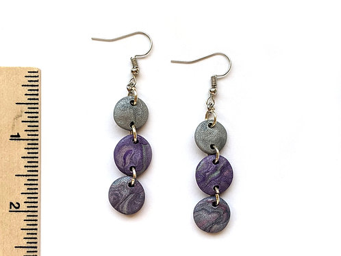 Purple swirl clay earrings