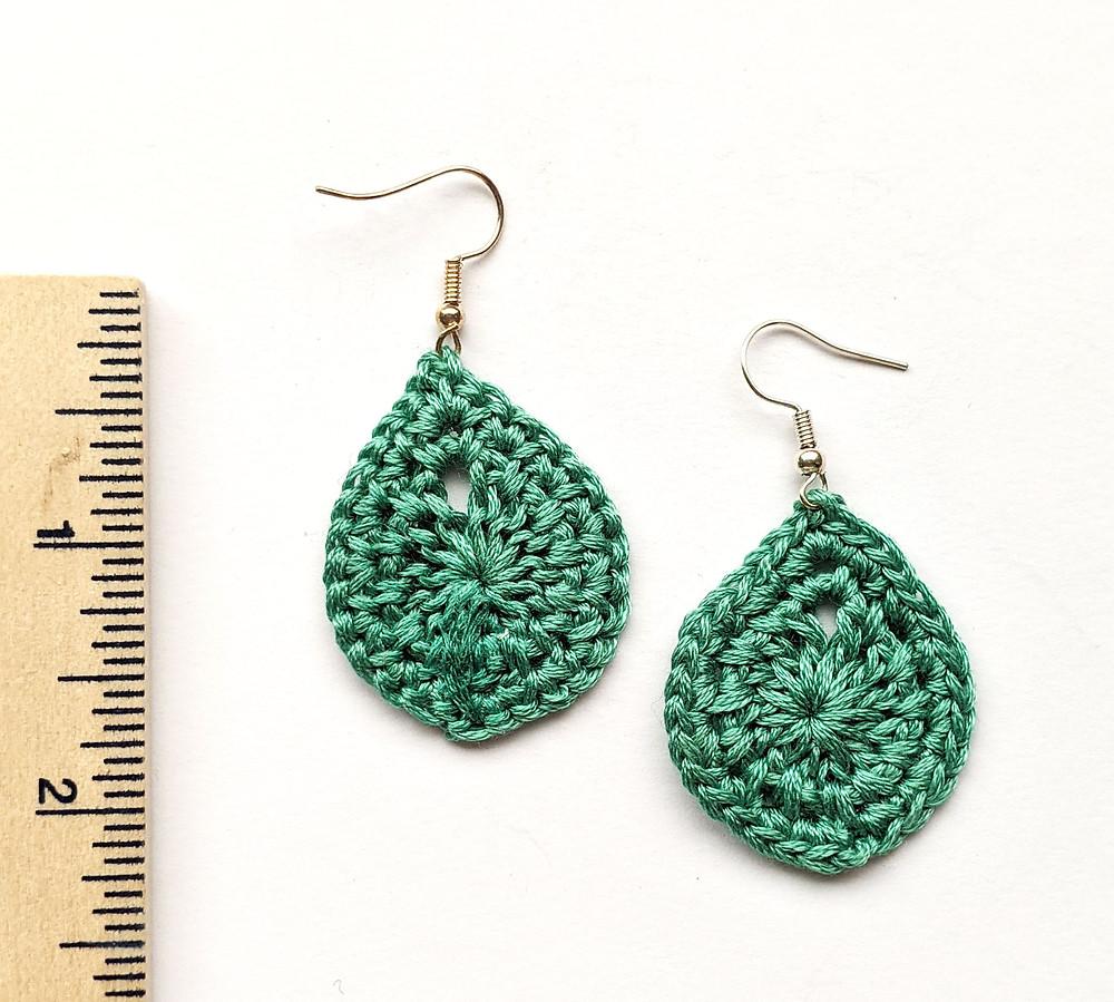 handmade crochet teardrop earrings in green