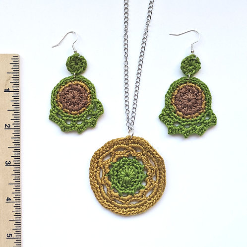 green crochet earring and necklace set