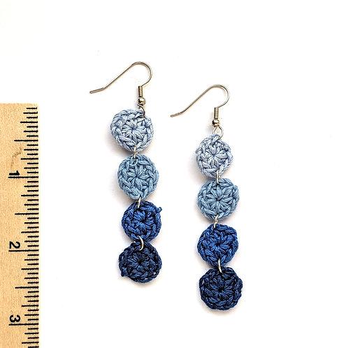 Ombre blue crochet earrings