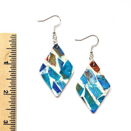 seaside town mosaic clay earrings