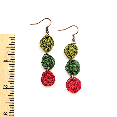 red and green dangle crochet earrings