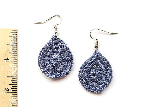 blue grey crochet teardrop earrings