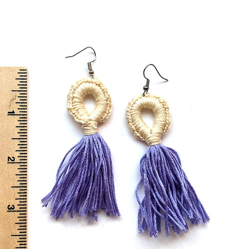 periwinkle and neutral tassel earrings