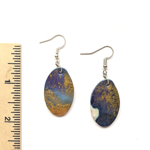 blue and gold clay earrings