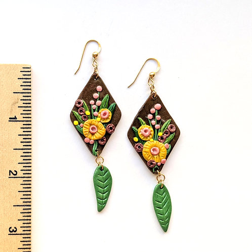 fancy floral bouquet earrings