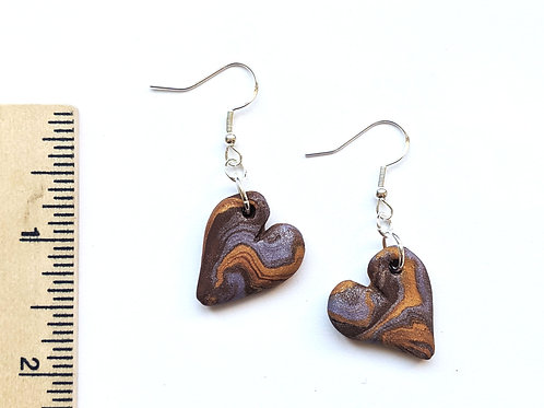 brown and purple heart swirl earrings